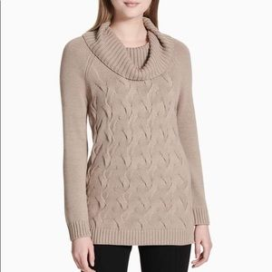 Calvin Klein Twisted Cable Knit Cowl Neck Sweater